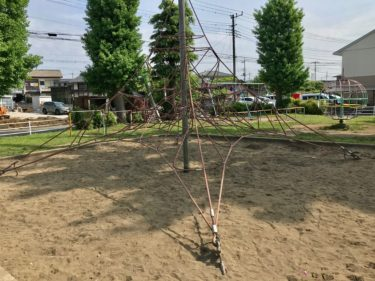 【東公園|さいたま市北区】アスレチックネットがある、芝生が気持ち良い公園