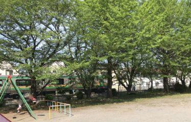 【滝宮公園|さいたま市北区】線路沿いで電車がよく見えるミニ子鉄スポット